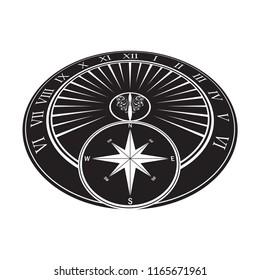 Black isometric sundial object isolated on white background