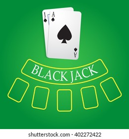 black jack playing cards on casino table vector illustrations