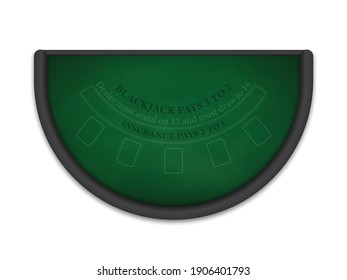 Black Jack table made of green cloth isolated on white background. Realistic vector illustration.