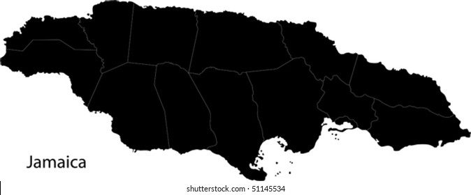 Black Jamaica map with parishes borders