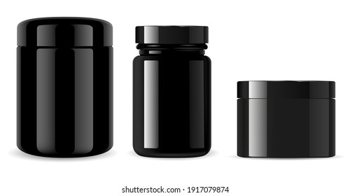 Black jar. Black glass cosmetic bottle glossy mockup. Glossy plastic container isolated on background. Supplement pill jar, 3d vector packaging, vitamin tablet medication. Cream tin template