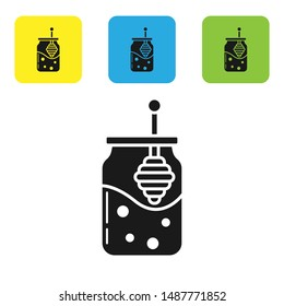 Black Jar of honey and honey dipper stick icon isolated on white background. Food bank. Sweet natural food symbol. Honey ladle. Set icons colorful square buttons. Vector Illustration