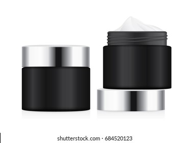 Black jar with silver lid opened to showing white foundation cream. illustration about cosmetic mock up.