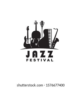 black jazz festival emblem with music instruments