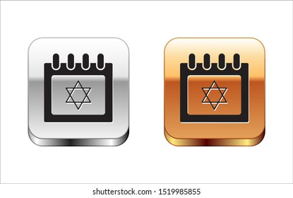 Black Jewish calendar with star of david icon isolated on white background. Hanukkah calendar day. Silver-gold square button. Vector Illustration