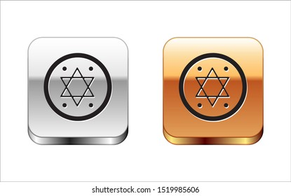 Black Jewish coin icon isolated on white background. Currency symbol. Silver-gold square button. Vector Illustration