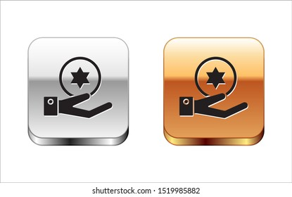 Black Jewish coin on hand icon isolated on white background. Currency symbol. Silver-gold square button. Vector Illustration