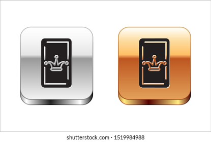 Black Joker playing card icon isolated on white background. Casino gambling. Silver-gold square button. Vector Illustration