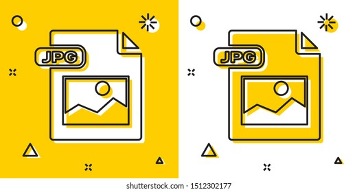 Black JPG file document. Download image button icon isolated on yellow and white background. JPG file symbol. Random dynamic shapes. Vector Illustration