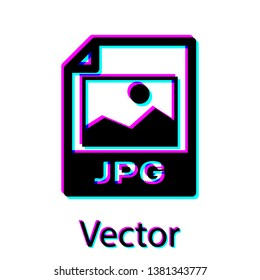 Black JPG file document icon. Download image button icon isolated on white background. JPG file symbol. Vector Illustration