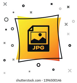 Black JPG file document icon. Download image button icon isolated on white background. JPG file symbol. Yellow square button. Vector Illustration