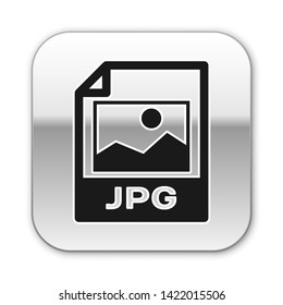 Black JPG file document icon. Download image button icon isolated on white background. JPG file symbol. Silver square button. Vector Illustration