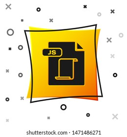 Black JS file document. Download js button icon isolated on white background. JS file symbol. Yellow square button. Vector Illustration