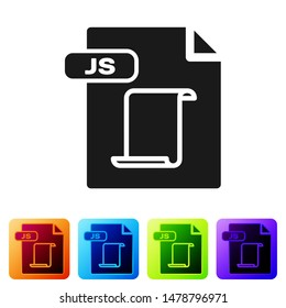 Black JS file document. Download js button icon isolated on white background. JS file symbol. Set icons in color square buttons. Vector Illustration