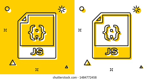Black JS file document. Download js button icon isolated on yellow and white background. JS file symbol. Random dynamic shapes. Vector Illustration