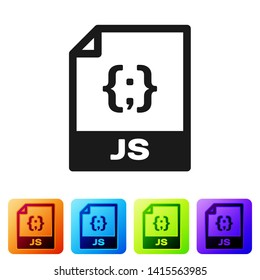 Black JS file document icon. Download js button icon isolated on white background. JS file symbol. Set icon in color square buttons. Vector Illustration