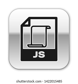 Black JS file document icon. Download js button icon isolated on white background. JS file symbol. Silver square button. Vector Illustration