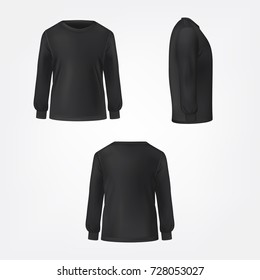 Black jumper with crew neck and long sleeve in three sides view realistic vector set isolated on white background. Modern unisex casual cloth template for fashion concept, clothing store advertising