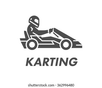 Black karting logo and symbol. Silhouette kart racer.