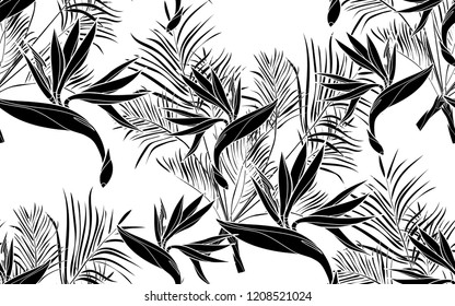 Black kentia leaves and bird of paradise flowers pattern. Vector illustration. Botanical seamless wallpaper. Digital nature art. Cartoon style sketch. White background.