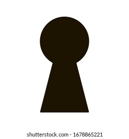 Black keyhole on white background. Mysterious door lock. Vector