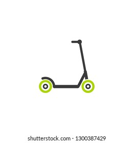 Black kick scooter or balance bike with green wheels icon. Flat push scooter isolated on white. Vector illustration. Eco transport symbol. Healthy journey. Ecology. Go green. Hipster.