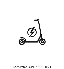 Black kick scooter or balance bike with lightning bolt icon. Flat push scooter isolated on white. Vector charge illustration. Eco transport symbol. Healthy journey. Ecology.  Hipster.
