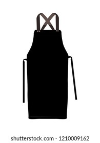 Black kitchen apron. Chef uniform for cooking vector template. Kitchen protective black apron for chef uniform illustration