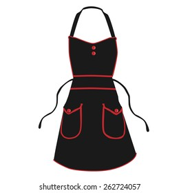 Black kitchen apron vector isolated, chef apron