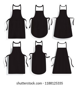 Black  kitchen aprons of different shape set. Realistic apron mockup, vector illustration.