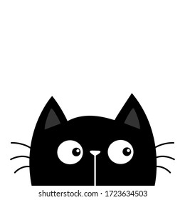 Black kitten cat head face looking at left sight. Kawaii baby pet animal. Cute cartoon character. Scandinavian style. Notebook cover, tshirt, greeting card print. Flat design. White background. Vector