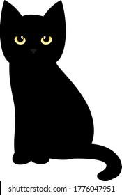 black kitten silhouette vector   illustration