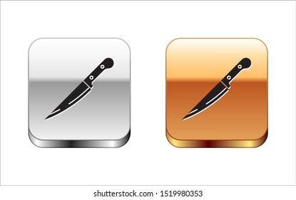 Black Knife icon isolated on white background. Cutlery symbol. Silver-gold square button. Vector Illustration