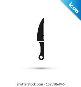 Black Knife icon isolated on white background. Cutlery symbol.  Vector Illustration