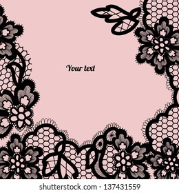 Black lace background with a place for text. Vintage lace vector design realistic. Eps 8