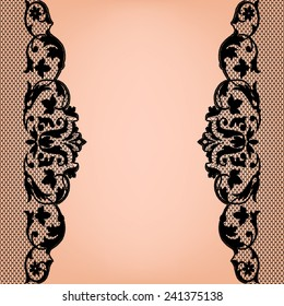 Black lace borders on a beige background