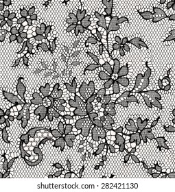 Black lace floral seamless pattern.