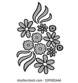 Black lace flower vector applique. May be used as decoration.