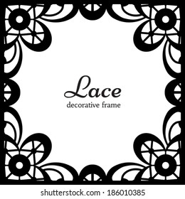 Black lace on white background, square ornamental vector frame