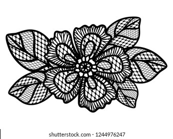 Black lace pattern with flowers. Black floral lace pattern