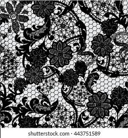 Black lace pattern on grey background