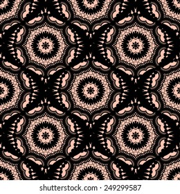 Black lace pattern with round elements. Vector illustration.