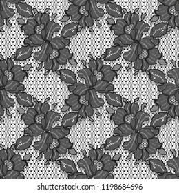Black Lace Vector Detailed Seamless Pattern