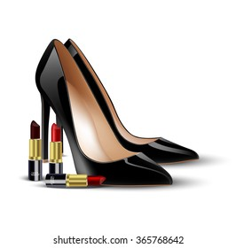 Black lady shoes and lipstick on isolated background.vector