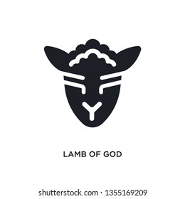 black lamb of god isolated vector icon. simple element illustration from religion concept vector icons. lamb of god editable logo symbol design on white background. can be use for web and mobile