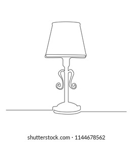 A black lamp is drawn by one black line on a white background. Continuous line drawing. Vector illustration.