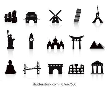 black landmark icons
