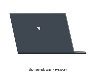 Black laptop flat icon. Laptop back view. Concept of IT communication, e-learning, internet network, online service. Isolated object on white background. Vector illustration.