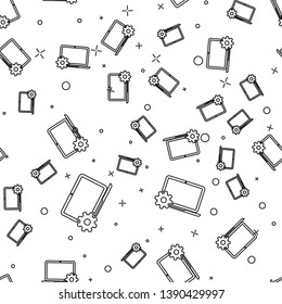 Black Laptop and gear icon isolated seamless pattern on white background. Laptop service concept. Adjusting app, setting options, maintenance, repair, fixing laptop concepts. Vector Illustration