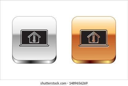 Black Laptop with house temperature icon isolated on white background. Thermometer icon. Silver-gold square button. Vector Illustration